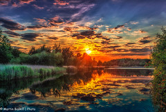 Sunset (martin.baskill) Tags: 2017 july sunset orange reflection water clouds reeds