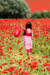 Red Balloon (alanrharris53) Tags: shepshed red ballon girl walking field 2017 poppies