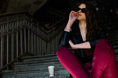 Anna (ivan_volchek) Tags: girl portrait goggles shine tini reflection feet steamed cup coffee dust mud pants red gray