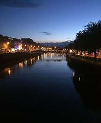 dublin's bridge (lucreziamarcattilj) Tags: surface water night citylights lights river bridge ireland irish dublin hapennybridge