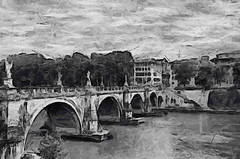 Ponte Sant' Angelo (Kalev Vask.) Tags: digital kalevvask postprocessed photoshop photomanipulation digiart photoart painterly artistic creative italy rome summer dap topaz on1 ownphoto phototoart phototopainting