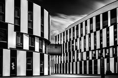 Wiena University of Business (Juraj Balaz) Tags: austria architecture places wien blackandwhite fineart clouds movement city cityscape modern building futuristic glass reflection window
