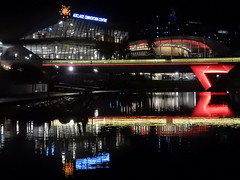 Illuminated Footbridge (mikecogh) Tags: adelaide elderpark footbridge illuminated night rivertorrens reflection conventioncentre