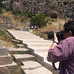 Dr. Goldberg taking his own photos on the program's visit to Delphi.