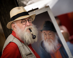 Self-portrait (JoshyWindsor) Tags: france portrait montmartre people canoneos6d holiday hat canonef70300mmf456l paris artist travel streetphotography pipe smoking beard glasses europe painting tobacco