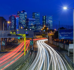 City Veins and Towers of Steel (Aleem Yousaf) Tags: city veins morning blue hour cityscape canary wharf traffic light trails road skyscrapers financial district east london photowalk photography londonist longexposure londoner ilovelondon timeoutlondon long exposure 2470mm wideangle nikon d800 north greenwich tower steel