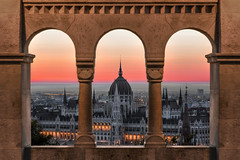 Parliment Sky Hole (JH Images.co.uk) Tags: budapest hungary parliament sunrise red sky window fishermans bastion hdr dri morning architecture