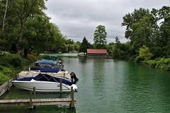 Fishtown's River (Jan Nagalski) Tags: boats outboards mercurymotor evirudemotor dock river lelandriver carpriver leland leelanaupeninsula northernlowerpeninsulamichigan fishtown jannagalski jannagal overcast clouds green trees