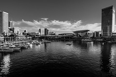 DSC00694 (Damir Govorcin Photography) Tags: water boats sky clouds buildings architecture cbd darling harbour sydney monochrome blackwhite wide angle zeiss 1635mm natural light sony a7rii