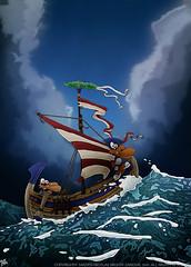 Rough Seas (MightyZandor) Tags: illustration cartoon comic webcomic sea rough boat ship rabbits adventure fantasy sword sorcery