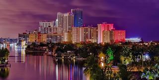 View of the skyline of Hallandale Beach, Broward County, Florida, USA