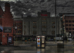 Stockport Plaza (Kev Walker ¦ Trying to Catch Up!) Tags: architecture britishculture canon1855mm colorfull england hdr marple northwest stockport telephone phonebox rain reflections