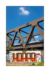 Street Art (Korps, Coe One), East London, England. (Joseph O'Malley64) Tags: korps coeone streetartists streetart urbanart publicart freeart graffiti eastlondon eastend london england uk britain british greatbritain art artists artistry artwork mural muralist wallmural wall walls railwayproprerty railwaybridge bridgespan reinforcedglass buddleia buddleiaflorets securityspikes steelrailings weeds grass openground urban urbanlandscape aerosol cans spray paint fujix x100t accuracyprecision brickwork bricksmortar cement pointing