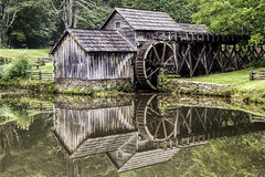 Mabry Mill, North Carolina (Scott Sanford) Tags: 6d abandoned canon ef2470f28l eos naturalbeauty naturallight nature outdoor summer sunlight water weathered buildings historic old roadtrip travel reflection
