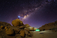 Night camping. (Luke Sergent) Tags: africa african arid astro astronomy astrophotography attraction bandofstars beautiful bed boulder boulders camping constellation damaraland dark desert famous formation galaxy geology graniteboulder idyllic illuminate landscape light matterhorn milky milkyway mountain namibia natural nature night outdoor park person rock rocky scenery scenic sky south southern southernafrica spitzkop spitzkoppe star starlight stars swakopmund tent torch tourism travel universe vacation way wild wilderness