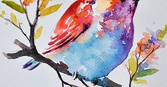 Just Pinned to Birdies: ORIGINAL Watercolor Bird Painting, Pastel Colored Rainbow Roller, Colorful Watercolor Flowers 7x10 Inch http://ift.tt/2rGeImC (FluffWonderland) Tags: pinterest birdies rachel young june 19 2017 0118am