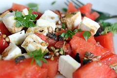 watermelon and feta salad (overthemoon) Tags: home food salad watermelon pastèque feta cheese buckwheat refreshing red white green explore