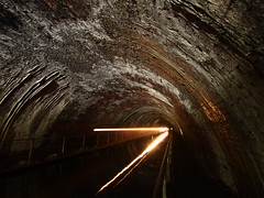 Let there be light (jeff.dugmore) Tags: england uk britain europe midlands westmidlands blackcountry netherton windmillend waterway canal nethertontunnel tunnel towpath path barge boat narrowboat light underground arched architecture reflection olympus longexposure water dark cold spooky haunting stone