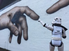 Day 157: Reaching out (Armchair Caver) Tags: mural streetart morningside stormtrooper actionfigures starwars 365project
