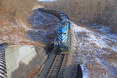 Mapletown Tunnel (GLC 392) Tags: cymx 1 tunnel s curve mapletown pa pennsylvania emd sd382 cumberland mine railroad railway train coal empty river creek snow dpu kirby alicia