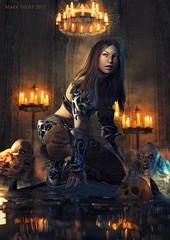 No stranger to danger (Mark Frost :)) Tags: creature horror dark bones rpg dungeon fantasy armour amor girl female woman warrior skeleton light skull sword 3d render cgi daz studio iray
