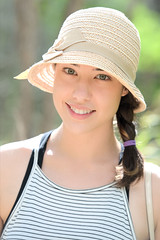 Bright Eyed and Bushy Tail! (Journey CPL) Tags: young lady portrait backlight eye eyes hat smile blueeyes greeneye girl sweet hawaii garden koko head botanical oahu bright cute beautiful cheery feminine tropical island