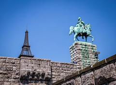 Miniature Eiffel tower and Statue of Kaiser Wilhelm I (mary_hulett) Tags: cologne 2017 statue travel viking equestrianstatueofkaiserwilhelmi rhineriver europe minieiffeltower rivercruise