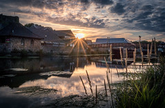Reflect (garethleethomas) Tags: town sun sunset river glare clouds peace calm street pretty uk greatbritain wales pembrokeshire water