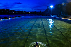 night swimmer  #3702 (lynnb's snaps) Tags: 2011 freshwater night people pool swimmers sydney colour canon550d motionblur movememnt water blues greens
