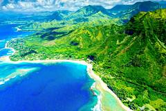 Kauai North Shore (Garden Isle Images) Tags: hawaii hawaiikauaiphotography haena tunnels kauai kauainorthshore tropical aerial blue seascape pacificocean ocean gardenisleimagescom
