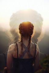 Two Worlds (NoelleBuske) Tags: nikon overlay girl braids outdoor back hair sunset sun light noellebuske noellebuskephotography color