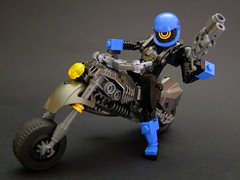 Highway Sentinel (Djokson) Tags: robot mecha armor police soldier motorcycle motorbike totallynotlawmaster blue steel gunmetal djokson lego bionicle moc toy model