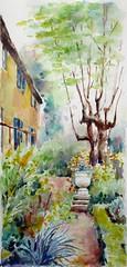 Pour le groupe Défiaqua: Jardin Défi juin, juillet, août 2017 (geneterre69) Tags: aquarelle jardin plantes arbres vertical watercolor