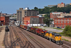 "Westbound Transfer in Kansas City, MO (""Righteous"" Grant G.) Tags: up union pacific railroad railway cp canadian kcs kansas city southern lines missouri west westbound transfer freight train trains emd ge power"