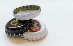 The Three Tops (pollyjaney) Tags: three 3 bottletops macro lager whitebackground macromonday