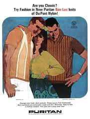 Puritan Ban-Lon knits, 1966 ad illustrated by Bob Peak (Tom Simpson) Tags: puritan banlon 1960s 1966 ad illustration bobpeak vintage ads advertising advertisement vintagead vintageads woman man fashion 1960sfashion