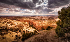 The Escalante - Textured (byron bauer) Tags: byronbauer canyon grandstaircase escalante utah wilderness landscape sky clouds desert scrub painterly texture sandstone cliffs plateaus coloradoplateau