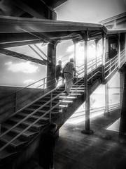 Getting off the Train (veyoung52) Tags: trainstation passengers staircase trains rhinecliff newyork blackandwhite blackwhite noiretblanc filmnoir shadows amtrak empirecorrridor
