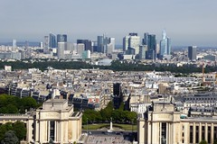 La Defense viewed from the Eiffel Tower (Muddy LaBoue) Tags: iledefrance monuments towers iconicarchitecture 1889 2017 july worldexposition eiffeltower paris france attractions tourism panasoniclumixdmctz60 summer city skyline architecture building tower