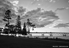 Clouds & Pines (mswan777) Tags: black white mackinac bridge mackinaw city cloud pine tree travel evening sunset scenic ansel nikon d5100 sigma 1020mm coast water straits