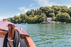 Ferry crossing (Keith in Exeter) Tags: ferry crossing river dart journey passage afloat water boat rope painter coil land quay landing cottage thatch woods woodland tree trees riverside greenway devon outdoor voyage bow gunwale launch tourism