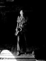 Edgy (Will.Mak) Tags: saxophone centralpark tunnel newyorkcity nyc newyork blackandwhite streetphotography street olympus em1markii olympusm25mmf12 25mm f12 25mmf12