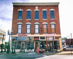 Storefronts, Painesville, Ohio (Dennis Sparks) Tags: theshoppeinthecity color ohio painesville storefronts sidewalkcafe iphone