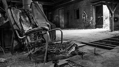 Lost Place IV (bennibenniebenny) Tags: lostplaces fabrik fabrikhalle factory industrie industry hall burned chair blackwhite