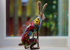 hare 012 (adore62) Tags: hare bokeh needlefelted feltedfido felted embroidered colour