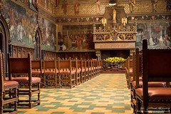 Inside Bruges City Hall (robstubbings) Tags: bruges chairs architecture building ancient murals cityhall brugge vlaanderen belgium be