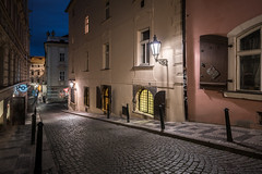 Old town streets (McQuaide Photography) Tags: prague praag praha czechrepublic českárepublika czechia centraleurope europe sony a7rii ilce7rm2 alpha mirrorless 1635mm sonyzeiss zeiss variotessar fullframe mcquaidephotography adobe photoshop lightroom manfrotto tripod light architecture outdoor outside building city capitalcity dusk twilight longexposure travel tourism malástrana lessertown old oldbuilding history historic wideangle zámecká street oldstreet cobblestone empty nopeople