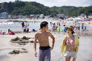 Young couple dating at beach
