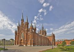 La catedral de la Inmaculada Concepción de la Santa Virgen María (svet.llum) Tags: arquitectura ciudad catedral iglesia neogótico moscú rusia calle