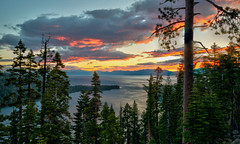 Sunrise on Lake Tahoe (ap0013) Tags: california sunrise sun laketahoe water landscape hdr mountain alpine beautiful scenery scenic sky lake tahoe summer trees ca cali cal